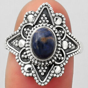 Natural Sodalite 925 Sterling Silver Ring s.9 Jewelry E637