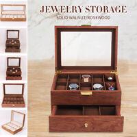 6/10/12/20 Slots Wood Watch Display Box Case Jewelry Storage Organizer Holder