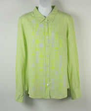 Ellen Tracy Shirt Button Front S Small LS Pocket Checks Gingham Green White New