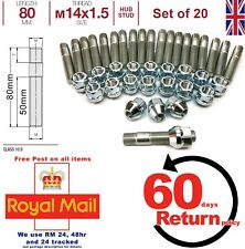 Vivaro Conversion wheel studs + Nuts kit. M14 x 1.5 80mm Long set of 20