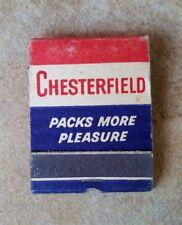 Vintage Matchbook PACKS MORE PLEASURE Chesterfield Cigarettes  UNSTRUCK