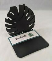 "Metal Bookends Leaf Design Black Finish Pair Of 2 5""×5"" Metal Decorative Mantel"