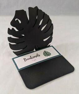 "Metal Bookends Leaf Design Black Finish Pair Of 2 5""×5"" Metal Decorative Mantel"