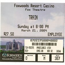 Train Concert Ticket Stub Mashantucket Ct 3/21/04 Foxwoods Resort Casino Rare