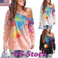 Women Paint Splatter Colorful Print Tops Off Shoulder Long Sleeve T-shirt Blouse