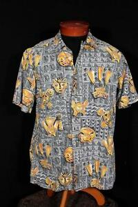 Selten 594mS Grau Baumwolle Hawaiian Einfach Stil Aufdruck Hemd Größe M