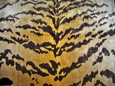 LEE JOFA KRAVET EXOTIC TIGRE TIGER SILK VELVET FABRIC 3 YARDS GOLD IVORY BROWN