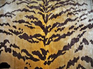 LEE JOFA KRAVET EXOTIC TIGRE TIGER SILK VELVET FABRIC 2.5 YARDS GOLD IVORY BROWN
