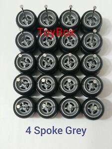 10 Sets Custom Wheels HOT WHEELS RUBBER WHEELS TIRES 4 Spoke Grey 10mm