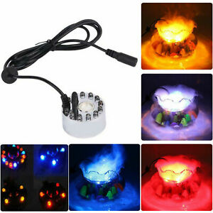 12 LED Ultrasonic Mist Maker Fogger Water Fountain Pond Colourful Humidifier