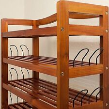 Large Shoe Rack Wooden Stand 5 Shelf Storage Sturdy @40 Shoes & Side Hooks