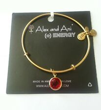 ALEX and ANI Ruby RED CRYSTAL CHANEL July CHARM Gold Bangle BRACELET NWT BOX