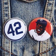 "1.25"" JACKIE ROBINSON BUTTONS (2 pcs) #42 baseball pins badges brooklyn dodgers"