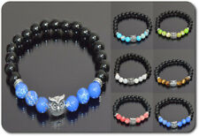 Bracelet Eagle Owl Natural Gemstone Agate Onyx Surfer Chakren Silver Plated