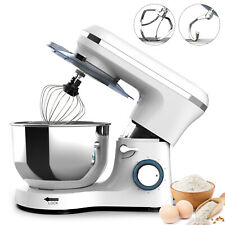 Electric Food Stand Mixer 6 Speed 7Qt 660W Tilt-Head Stainless Steel Bowl White