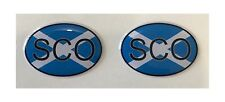 SCO Scotland Int. Code 2x Small Oval 3D Gel Flag Stickers Domed Gsm Moto