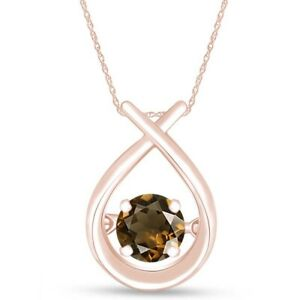 Smoky Quartz Solitaire Dancing Pendant 14k Rose Gold Over Sterling Silver