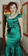 KAREN MILLEN GORGEOUS GREEN SATIN COCKTAIL DRESS SIZE S/UK8