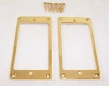 Paire de plat mince GOLD métal de base humbucker pickup surrounds / gibson etc
