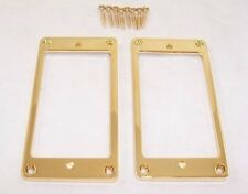 PAIR OF GOLD THIN FLAT BASE METAL HUMBUCKER PICKUP SURROUNDS/ GIBSON ETC