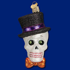 Top Hat Skeleton Skull Gothic Glass Ornament Old World Christmas Halloween New