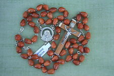 Catholic Rosary GENUINE COCOA Wood LT BROWN 7mm Teardrop beads NOS Italy
