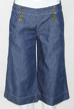 NEW Divine Rights of Denim Wide Leg Gaucho Pants MEDIUM BLUE/SIZE 26