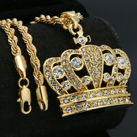 """14K Gold Plated 3D King Crown Pendant 24"""" Rope Chain Hip Hop Necklace"""