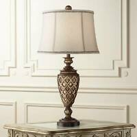 Traditional Table Lamp Light Bronze Urn Bell Shade for Living Room Bedroom
