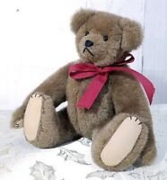 "Karen Haskell Hand Made Stuffed 12"" Brown Teddy Bear Fully Jointed One of a Kind"
