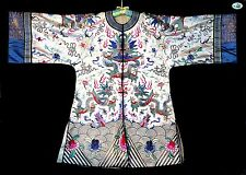 Pre-1930 Exquisite Antique Chinese White Silk & Heavily Embroidered Woman Coat