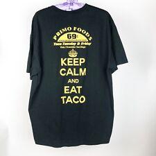 Keep Calm and Eat Taco Black XL Tee T Shirt Men's XL Cotton Tee