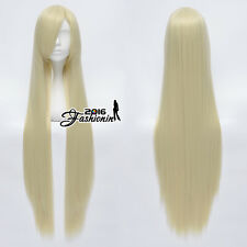 Anime 100CM Light Blonde Long Straight Basic Women Cosplay Wig Heat Resistant