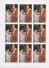 MOTHER TERESA POPE JOHN PAUL II TURKMENISTAN 1997 MNH STAMP SHEETLET