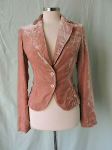 Superb SISLEY Crushed VELVET  Fitted JACKET - uk 10/12 - peach - VGC