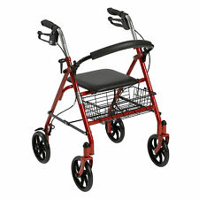 Red Heavy Duty Rollator Walker w/ Wheels 300 lbs Cap Basket Adult Padded Seat!