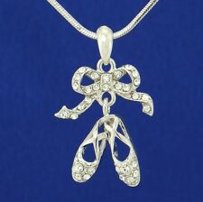 W Swarovski Crystal Ballerina Shoes Slippers Ballet Pendant Necklace Gift