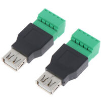 1Pc USB female to 5P screw shield plug terminal adapter connector √