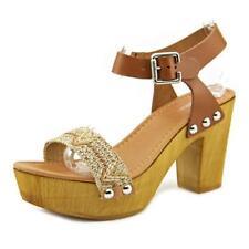 Sandalias y chanclas de mujer de color principal marrón de piel talla 38.5