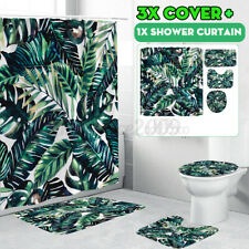 4x Green Leaf Bathroom Shower Curtain+Toilet Seat Cover+Pedestal Rug+Bath Mat
