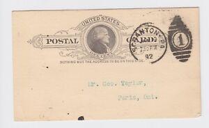 United States Thomas Jefferson 1 cent Stationary Card 1892 Scanton PA Paris Ont