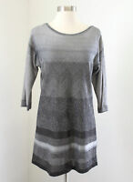 White House Black Market Gray Ombre Metallic Striped Tunic Sweater Knit Size S