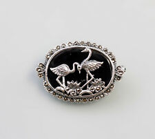 9927313 925er Silber Markasiten Brosche Flamingo Onyx 3,5x2,5cm
