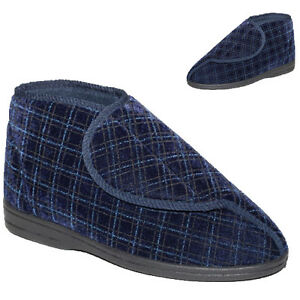 MENS SLIPPERS BOOTS STRAP FASTENING ORTHOPAEDIC ANKLE HIGH SLIPPER WARM BOOTIES