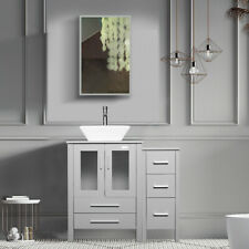 "36"" Bathroom Vanity Gray Ceramic Vessel Sink W/Mirror Cabinet White Basin Set"