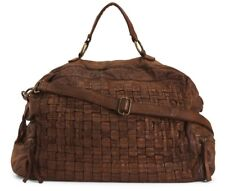 NWT COSTANZA ROTA MADE IN ITALY WOVEN LEATHER DUFFEL WEEKENDER DAG CUPIO BROWN