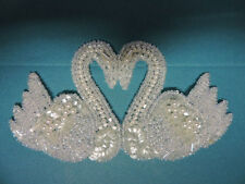 BRIDAL PEARL BEADED SEQUIN SWANS APPLIQUE 3584-WD