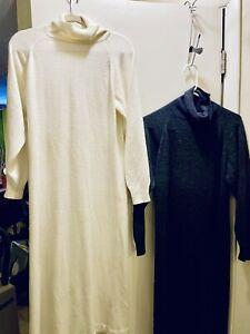 Vintage LL Bean Womens Modest Dress Lot Of 2 Size S Long Sleeve Acrylic USA