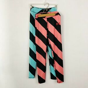 Lot Of 2 Under Armour Leggings Women's Size Medium Blue Pink Striped Ankle