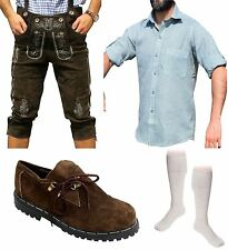 5-teiliges Trachtenset E Trachtenlederhose 46-60 Träger,Schuhe,Hemd,lange Socken